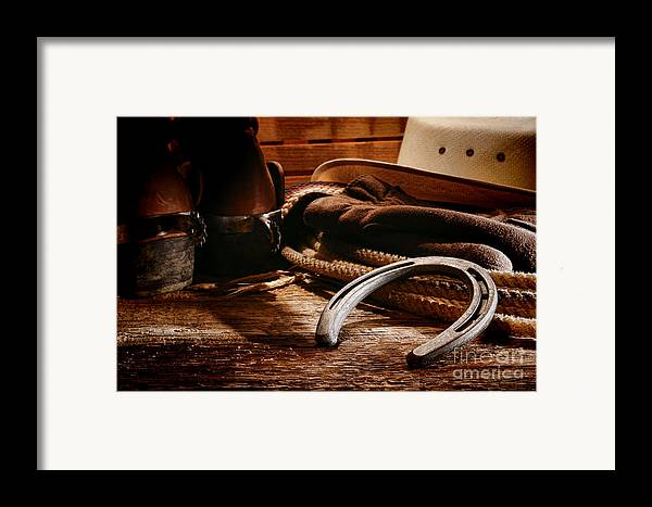 Western Framed Print featuring the photograph Cowboy Horseshoe by Olivier Le Queinec