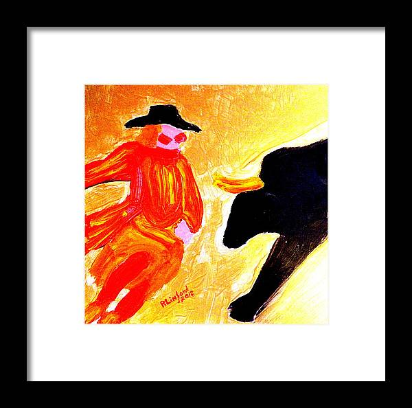 Cowboy Framed Print featuring the painting Cowboy Rodeo Clown And Black Bull 1 by Richard W Linford