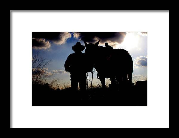 Cowboy Framed Print featuring the photograph Cowboy Silhouette by Toni Hopper