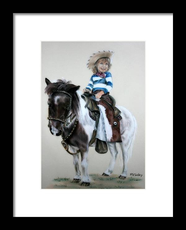 Western Framed Print featuring the pastel Cowgirl Dee by Dee Mccluskey