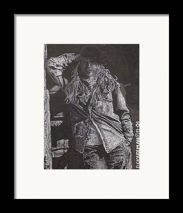 Figurative Framed Print featuring the drawing Cowgirl by Denis Gloudeman