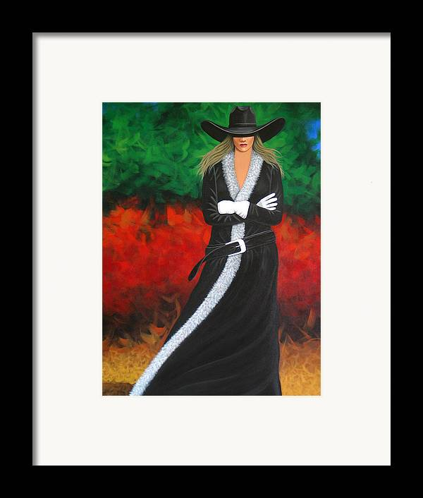 Pretty Cowgirl Framed Print featuring the painting Cowgirl by Lance Headlee