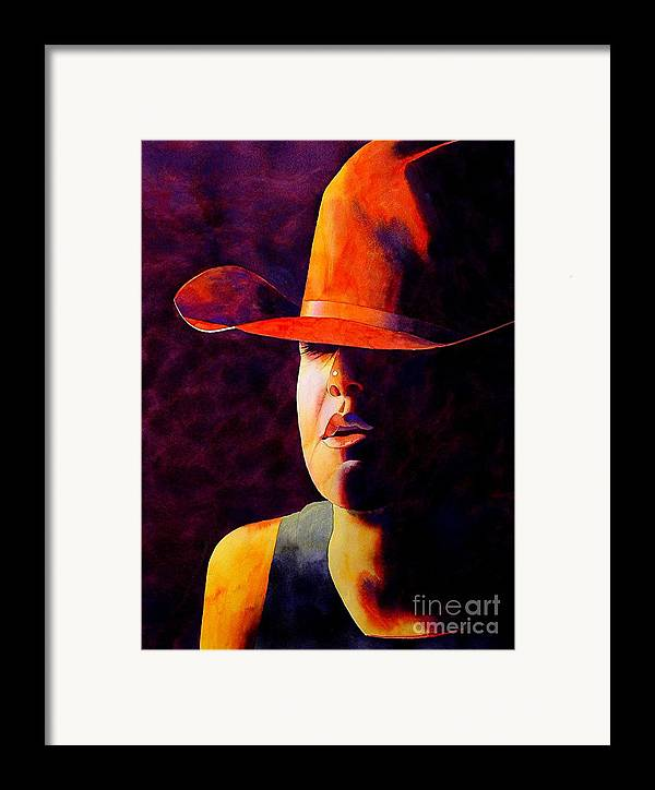 Watercolor Framed Print featuring the painting Cowgirl by Robert Hooper