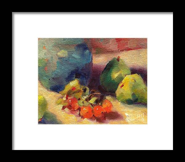 Still Life Framed Print featuring the painting Crab Apples And Pears by Michelle Abrams