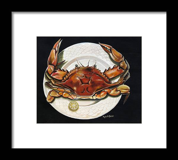 Crab Framed Print featuring the painting Crab On Plate by Phyllis Beiser