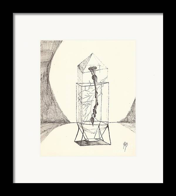 Pen And Ink Framed Print featuring the drawing Cracked... Sketch by Robert Meszaros