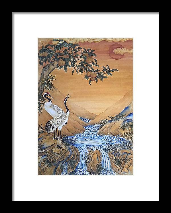Nature Framed Print featuring the painting Cranes Beside A Rocky Pool by Nicola Mountney
