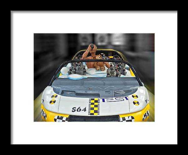 Fantasy Framed Print featuring the photograph Crash Dummy Bear by Thomas Woolworth