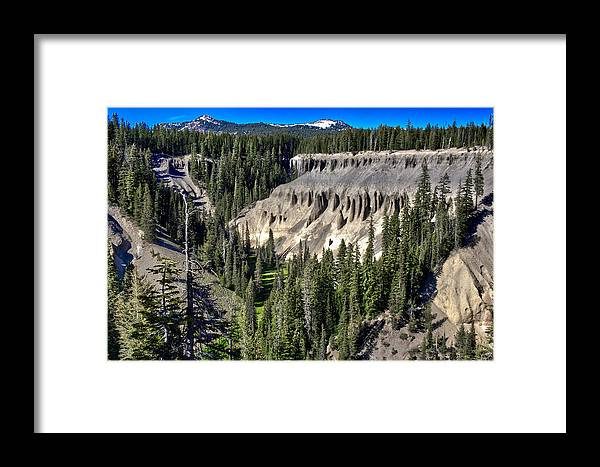 Crater Lake Framed Print featuring the photograph Crater Lake Canion by Alex Broker