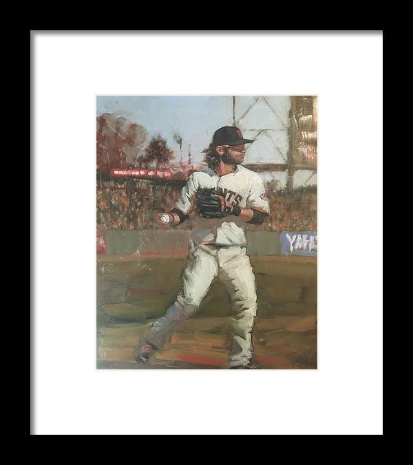 Brandon Crawford Framed Print featuring the painting Crawford Day Game by Darren Kerr
