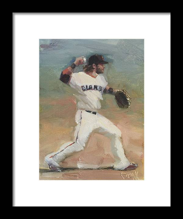 Brandon Crawford Framed Print featuring the painting Crawford Sketch by Darren Kerr