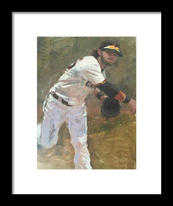 Brandon Crawford Framed Print featuring the painting Crawford Throw to First by Darren Kerr