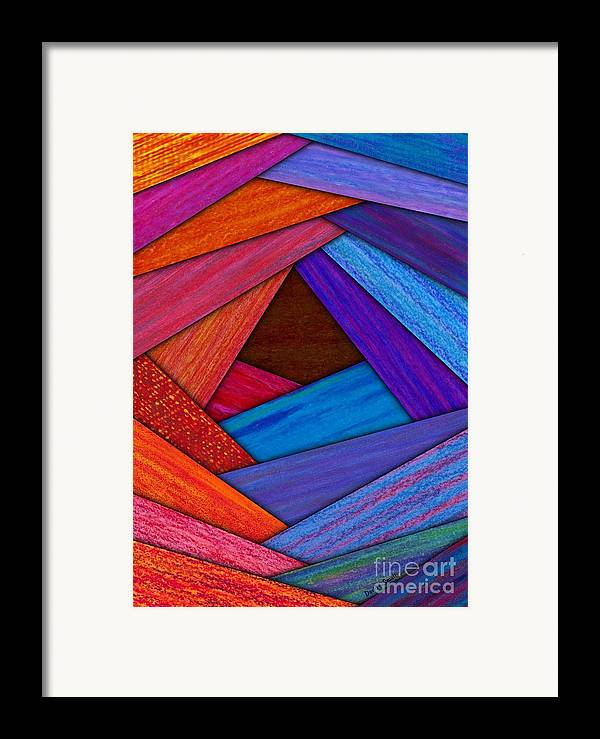 Colored Pencil Framed Print featuring the painting Crazy Log Cabin Card by David K Small