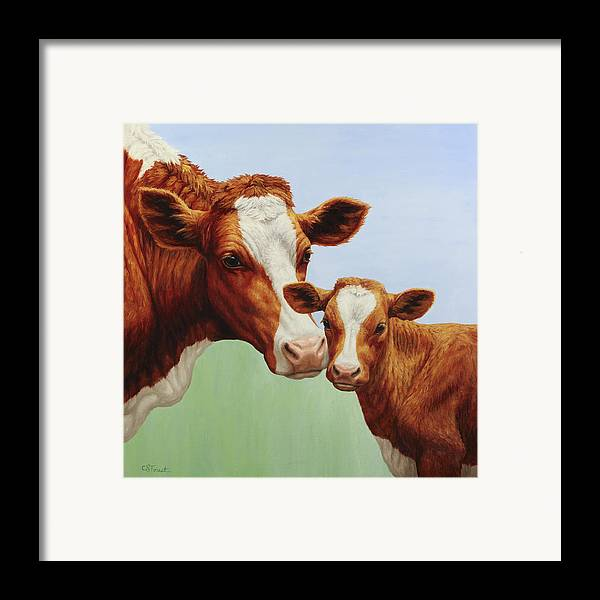 Cow Framed Print featuring the painting Cream And Sugar by Crista Forest