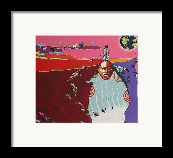 Native American Framed Print featuring the painting Creation by Joe Triano