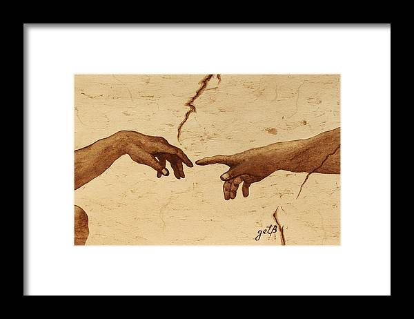 Creation Of Adam Framed Print featuring the painting Creation Of Adam Hands A Study Coffee Painting by Georgeta Blanaru