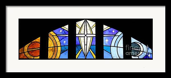 Stained Glass Framed Print featuring the glass art Creation Of The Stars by Gilroy Stained Glass