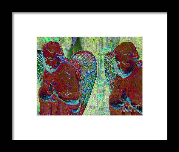 Diane Dimarco Art Framed Print featuring the photograph Creche Angels 1 by Diane DiMarco
