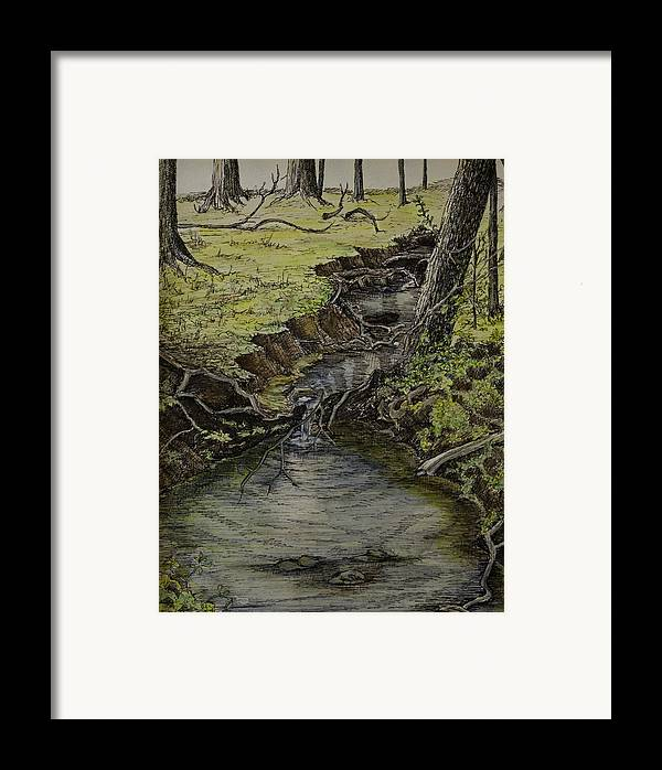 Creek Framed Print featuring the painting Creek by Janet Felts