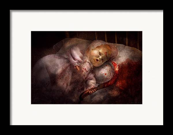 Doll Framed Print featuring the digital art Creepy - Doll - Night Terrors by Mike Savad