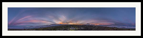 Mauna Loa Hawaii Sunset Panoramic Landscape Crepuscular Rays Anti Crepuscular Rays Natures Framed Print featuring the photograph Crepuscular Burst by Sean King