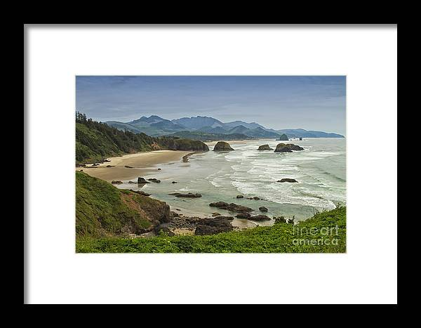 Crescent Beach Framed Print featuring the photograph Crescent Beach Oregon by Carrie Cranwill