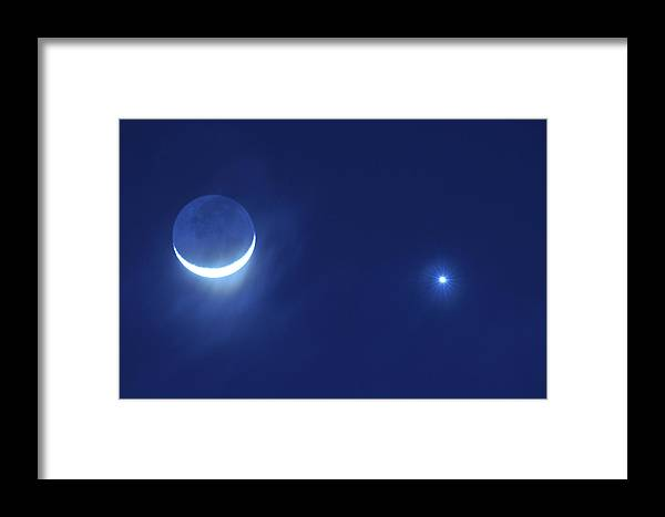 Moon Framed Print featuring the photograph Cresent Moon In Conjunction With Venus And The Evening Star by Scott Lenhart