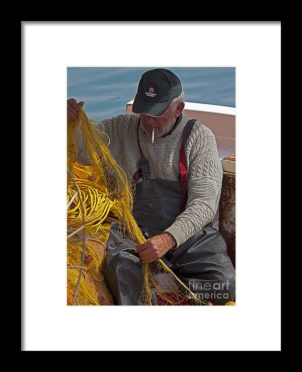 Fishermen Framed Print featuring the photograph Crete Fisherman  #9348 by J L Woody Wooden