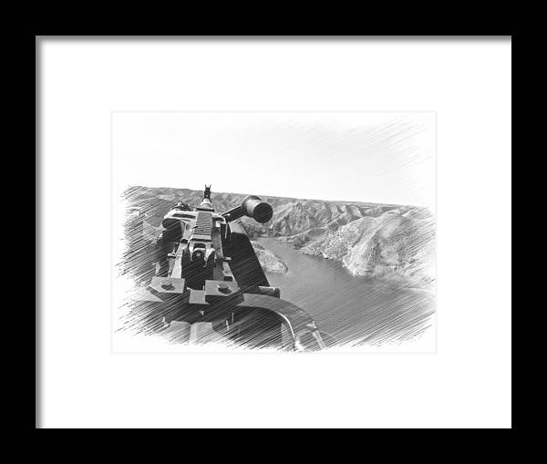 From The Eyes Of The Gunner And Crew. Framed Print featuring the digital art Crew View by Evan Premer