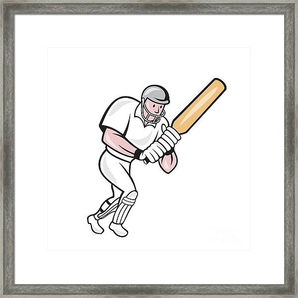 Cricket Player Batsman Batting Cartoon Framed Print by
