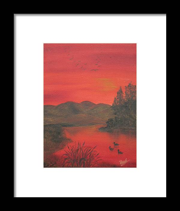 Duck Framed Print featuring the painting Crimson Lake by Barbara McDevitt