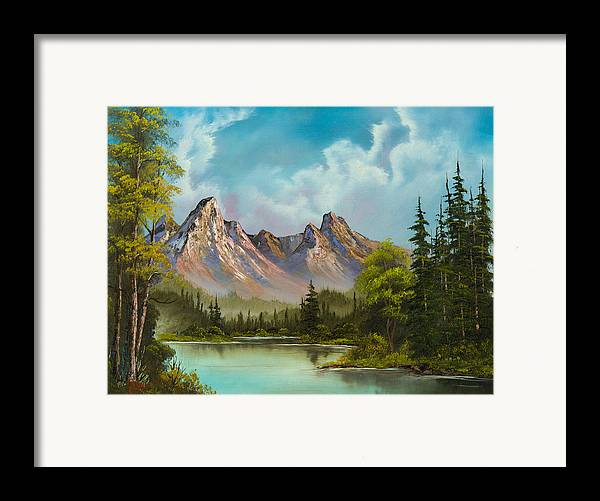 Landscape Framed Print featuring the painting Crimson Mountains by Chris Steele