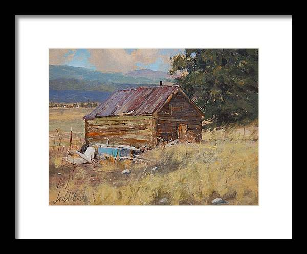 Landscape Framed Print featuring the painting Cripple Creek Cabin by Greg Clibon