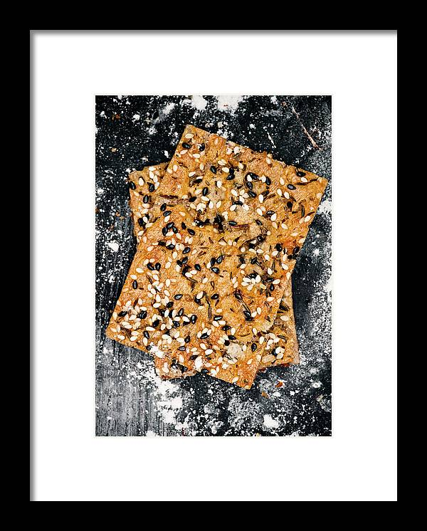 Sweden Framed Print featuring the photograph Crispbread With Thyme On Metal Sheet by Johner Images