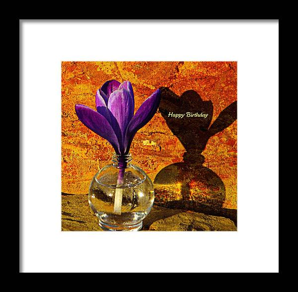 Card Framed Print featuring the photograph Crocus Floral Birthday Card by Chris Berry