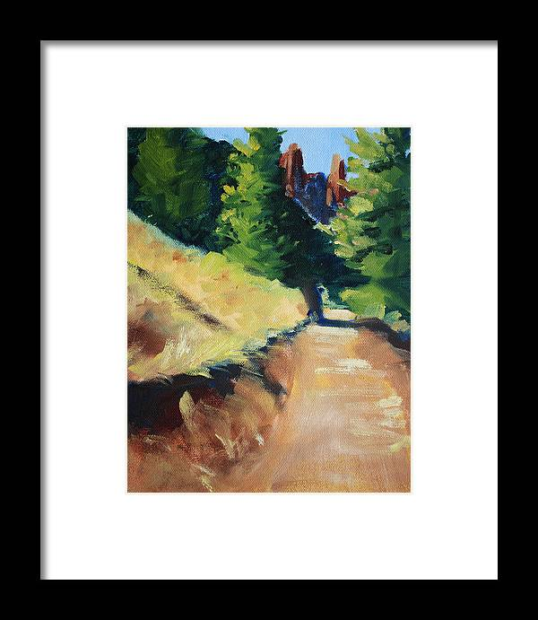 Oregon Framed Print featuring the painting Crooked River Trail by Nancy Merkle