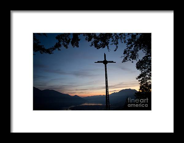 Cross Framed Print featuring the photograph Cross On The Mountain by Mats Silvan