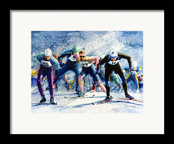 X-country Skiing Framed Print featuring the painting Cross-country Challenge by Hanne Lore Koehler