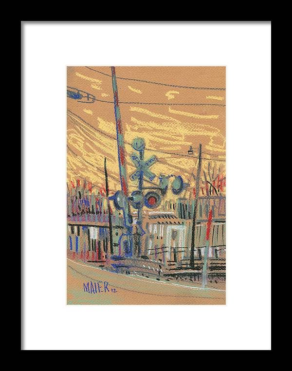 Railroad Framed Print featuring the drawing Crossing At Sawyer by Donald Maier