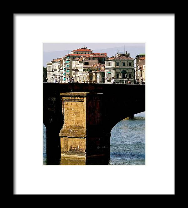 Arno River Framed Print featuring the photograph Crossing The Arno by Ira Shander