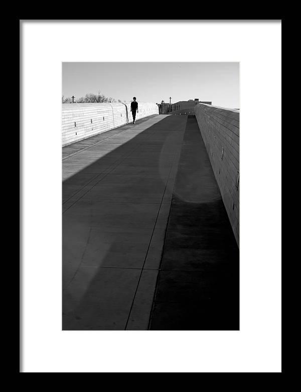 Lone Figure Framed Print featuring the photograph Crossing The Bridge by Robert Bermea