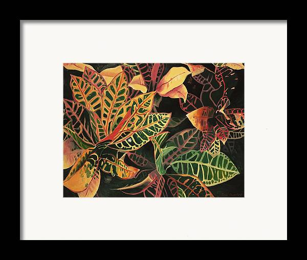 Croton Leaves Framed Print featuring the painting Croton Leaves by Judy Swerlick