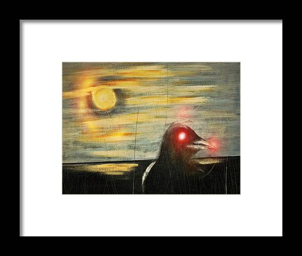 Original With Digital Mix Framed Print featuring the mixed media Crow 45 by Joseph Ferguson