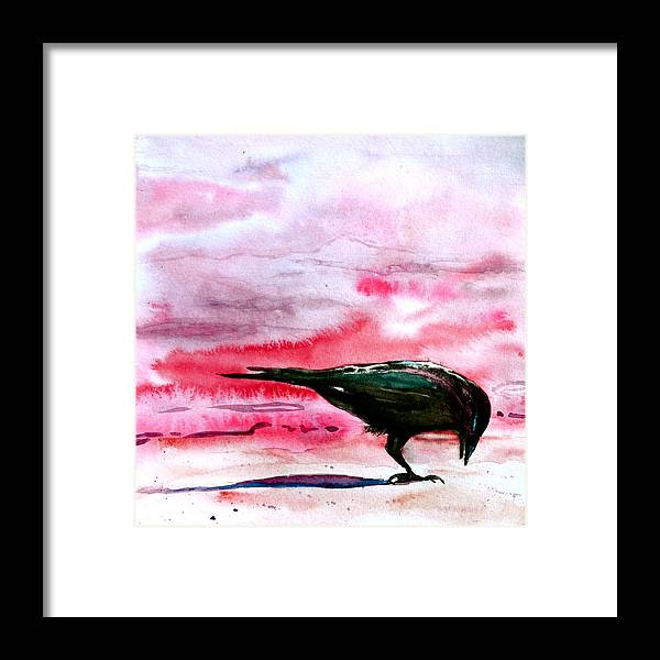 Crow At Dawn Framed Print featuring the painting Crow At Dawn by Beverley Harper Tinsley