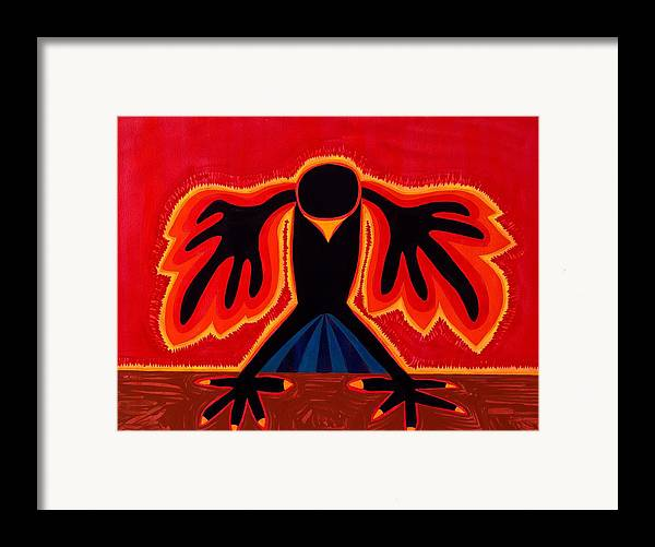 Painting Framed Print featuring the painting Crow Rising Original Painting by Sol Luckman