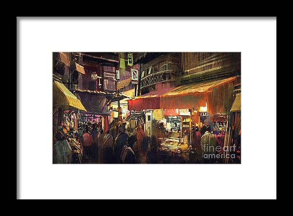 City Framed Print featuring the photograph Crowd Of People Walking In The Market by Tithi Luadthong