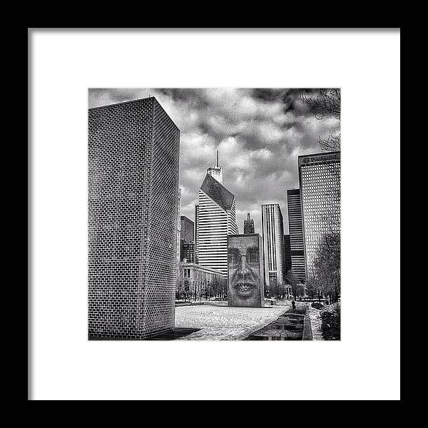 America Framed Print featuring the photograph Chicago Crown Fountain Black and White Photo by Paul Velgos