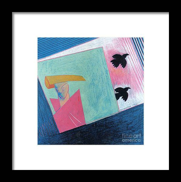Abstract Framed Print featuring the painting Crows And Geometric Figure by Genevieve Esson
