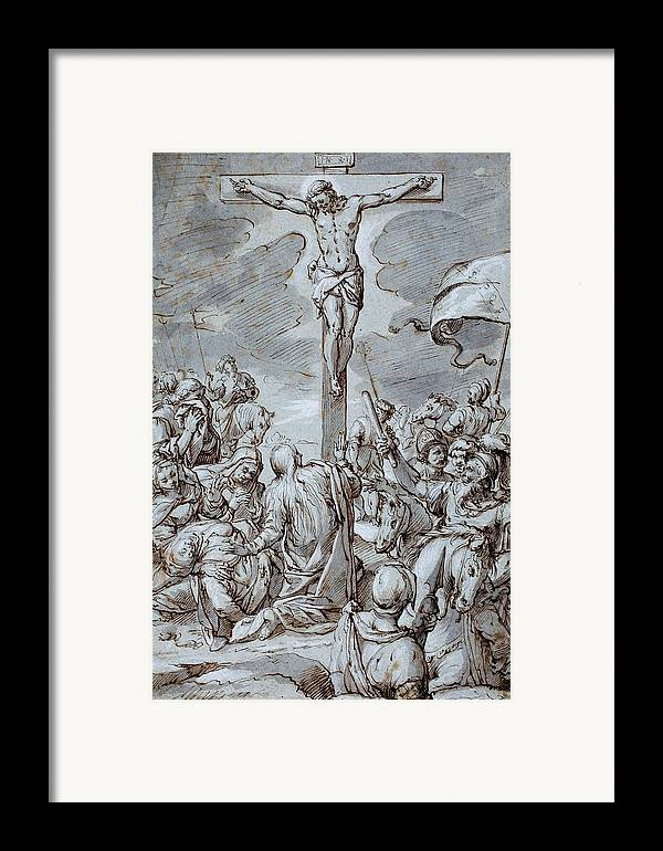 Crucifixion Framed Print featuring the drawing Crucifixion by Johann or Hans von Aachen