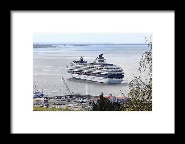 Cruising Out Of Astoria Framed Print featuring the photograph Cruising Out Of Astoria by Wes and Dotty Weber